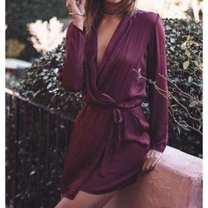 Sabo Luxe Long Sleeve Wrap Dress - Port Wine